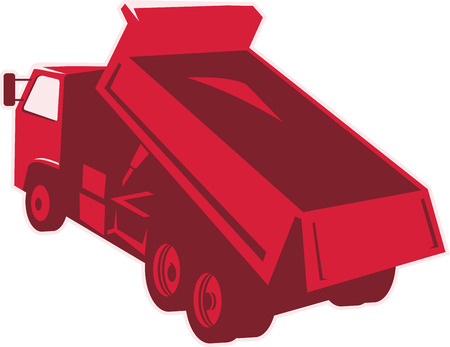 dumping: Illustration of a dump dumper truck dumping load viewed from rear done in retro style on isolated white background.