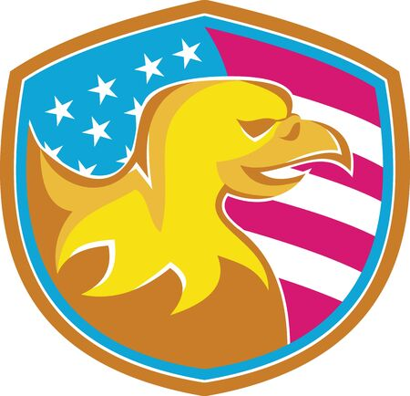 american bald eagle: Illustration of an american bald eagle viewed from side set inside shield with usa tars and stripes flag done in retro style. Illustration