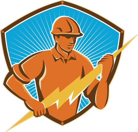 bolt: Illustration of an electrician construction worker holding a lightning bolt set inside shield crest done in retro style