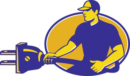 electric plug: Illustrazione di un elettricista in possesso di collegare la spina elettrica visto dal lato impostato all'interno ovale fatto in stile retr�.