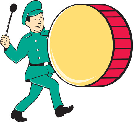 beating: Illustration of a marching band brass band drummer beating drum viewed from side on isolated background done in cartoon style. Illustration