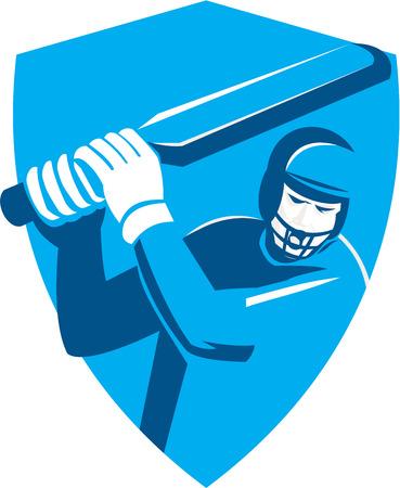 bateo: Ilustraci�n de un bateador del jugador del grillo con el palo de bateo conjunto dentro cresta escudo hecho en estilo retro en el fondo aislado. Vectores