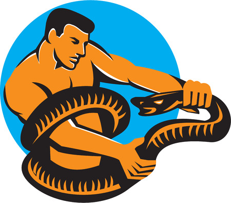struggling: Illustration of a man struggling fighting a boa constrictor snake wrapped around his torso viewed from side set inside circle done in retro style.