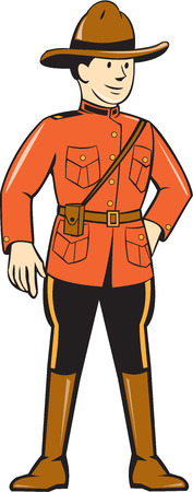 law enforcement: Illustration of a mounted policeman police officer standing facing front on isolated background done in cartoon style. Illustration