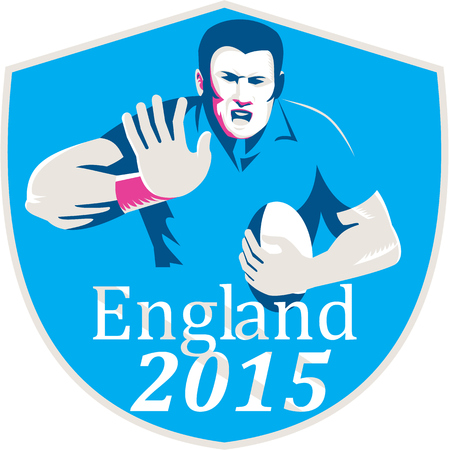 fend: Illustration of rugby union player with ball fending set inside shield crest on isolated background with words England 2015 done in retro style.