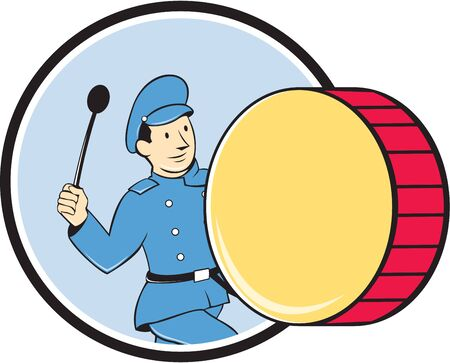 marching band: Illustration of a marching band brass band drummer beating drum viewed from side set inside circle on isolated background done in cartoon style.
