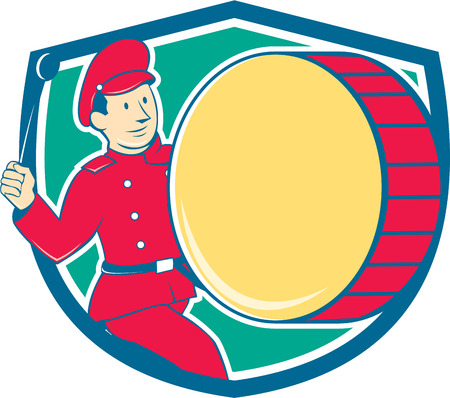 beating: Illustration of a marching band brass band drummer beating drum viewed from side set inside shield on isolated background done in cartoon style.