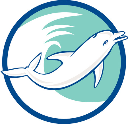 sea side: Illustration of a dolphin viewed from the side jumping with waves in the background set inside circle done in retro style.