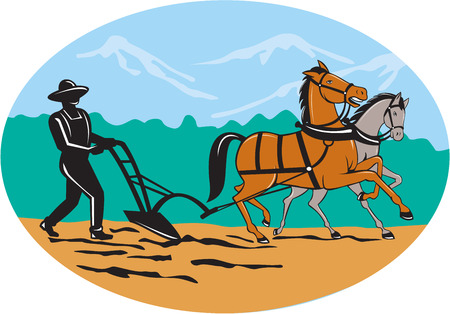 plows: Illustration of farmer and horse plowing farmer field viewed from side with trees and mountains set inside oval shape done in cartoon style on isolated background.