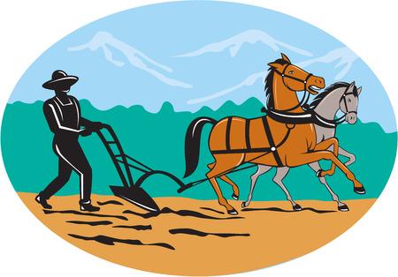 arando: Ilustración de campo para agricultores granjero y caballo arar visto desde el lado con árboles y montañas establecidos dentro de forma ovalada hecho en estilo de dibujos animados sobre fondo aislado. Vectores