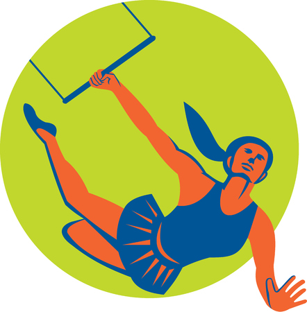 trapeze: Illustration of an acrobat performing a flying trapeze act set inside circle done in retro style on isolated background.