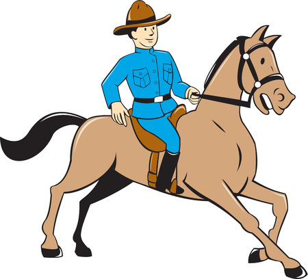 riding horse: Illustration of a mounted policeman police officer riding a horse on isolated background done in cartoon style.