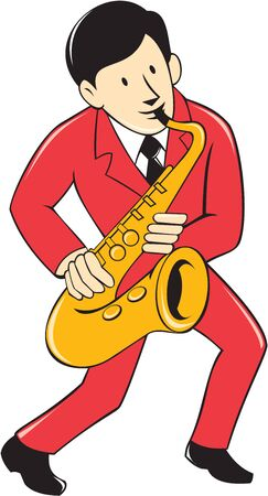 woodwind: Illustration of a musician playing saxophone viewed from front on isolated white background done in cartoon style. Illustration