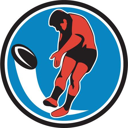 kicking ball: Ilustraci�n de un jugador de rugby patear pelota vista frontal conjunto dentro del c�rculo en el fondo aislado hecho en estilo retro. Vectores