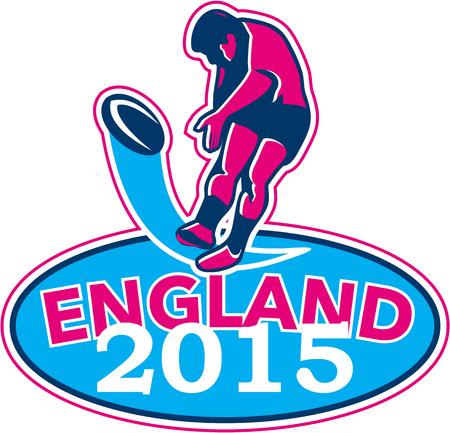 kicking ball: Ilustraci�n de jugador de rugby patear la pelota en el fondo blanco aislado con palabras Inglaterra 2015 dentro de forma ovalada realizado en estilo retro.