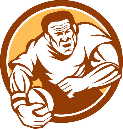 woodblock: Illustration of a rugby player with ball running attacking set inside circle on isolated background done in retro woodcut linocut style.
