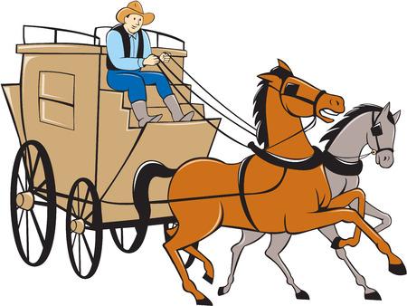 漫画のスタイルで行われる分離の白い背景の上の 2 つの馬を運転台車に乗って駅馬車ドライバーのイラスト。
