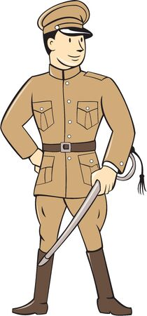 serviceman: Illustration of a World War one British officer soldier serviceman standing facing front with sword on isolated white background  done in cartoon style.