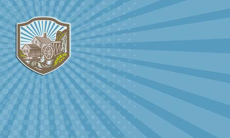 molino de agua: Tarjeta de visita que muestra la ilustración de una casa con molino de agua cae conjunto río dentro cresta escudo con rayos de sol en el fondo hecho en estilo retro.