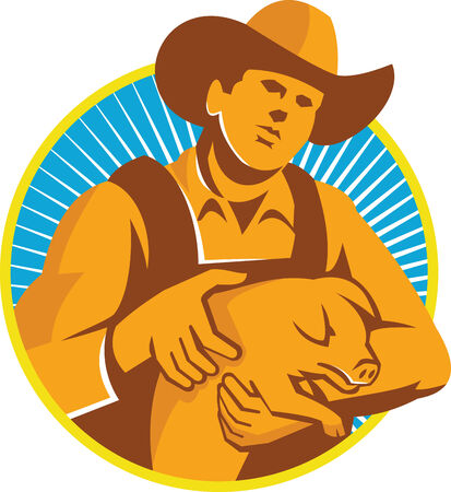 Illustration of a pig farmer holding a suckling piglet viewed from front set inside circle with sunburst in the background done in retro style.