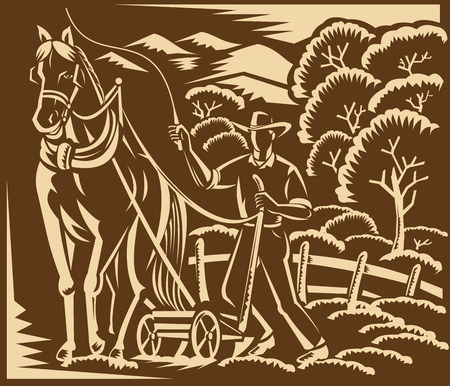 woodcut: Illustration of a farmer and horse farming plowing farm field with trees and mountains in the background done in retro woodcut style.