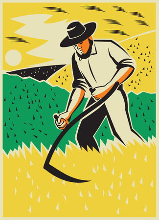 harvesting: Illustration of a farmer with scythe working the farm field harvesting reaping crop harvest done in retro style with clouds birds in the background Illustration