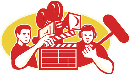 Illustration of a director film crew holding clapboard clapper film slate and soundman with boom microphone and vintage movie film camera in background set inside oval done in retro style.