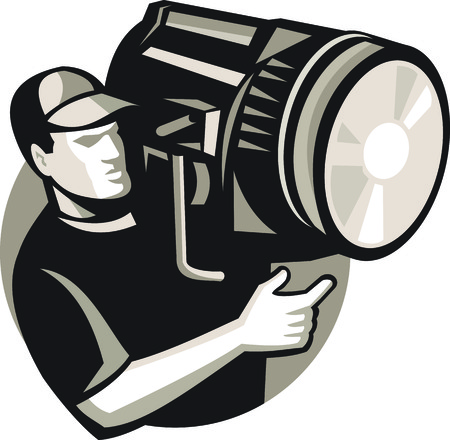crew: Illustration of film crew worker operating pointing a spotlight fresnel light theater lantern done in retro style. Illustration