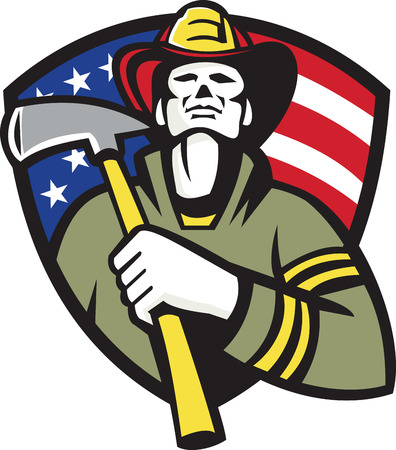 ax: Illustration of an american fireman firefighter emergency worker holding a fire ax set inside shield with stars and stripes flag in the background done in retro style.