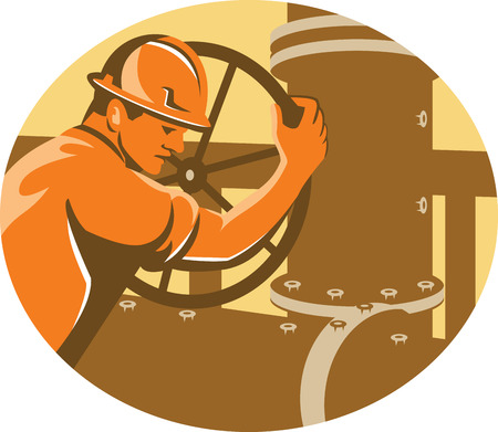 oil worker: Ilustraci�n de una v�lvula de la tuber�a de la red de gasoductos y trabajador petrolero cierre operador se ve desde el lado de dentro de �valo hecho en estilo retro.