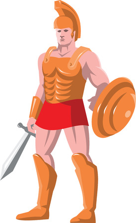 facing: vector illustration of a gladiator roman centurion warrior standing facing front with sword and shield done in retro style.