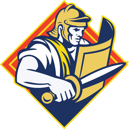 roman soldier: Illustration of a gladiator roman centurion with sword and shield set inside diamond shape done in retro style. Illustration