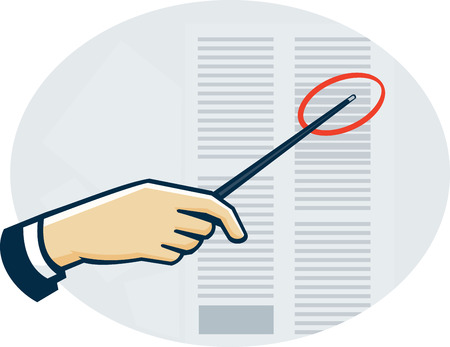 data sheet: Illustration of a hand with pointer pinpointing at data sheet done in retro style.