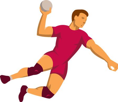 balonmano: Ilustraci�n de un jugador de pelota mano con la pelota saltando lanzando juego de puntuaci�n en el fondo blanco aislado hecho en estilo retro. Vectores