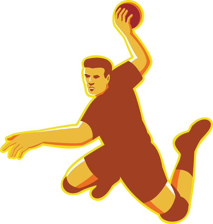 striking: Illustration of a hand ball player with ball  jumping throwing scoring striking done in retro style on isolated white background.