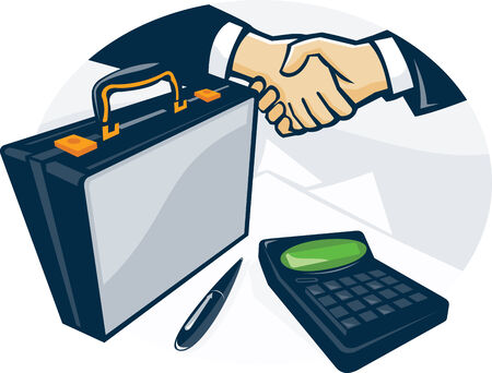 attache: Illustration of two businessmen in business deal handshake with briefcase pen and calculator done in retro style.