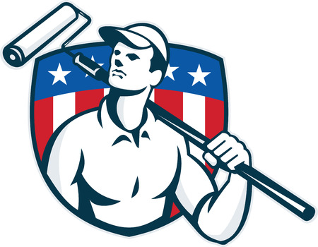 tradesman: Illustration of a handyman tradesman carpenter painter carrying a paint roller looking up with American stars and stripes flag shield in the background done in retro style.