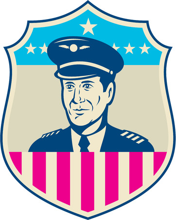 aviator: Illustration of an American airline aircraft pilot or aeronautical aviator looking to front set inside shield with USA stars and stripes flag done in retro style.