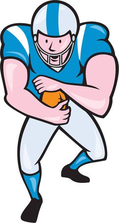 scat: Illustration of an american football gridiron player running back with ball facing front fending set on isolated white background done in cartoon style.