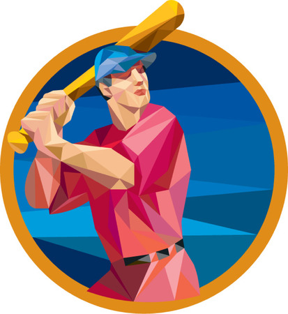 bateo: Ilustraci�n de estilo poligonal baja de un americano jugador de b�isbol bateador bateador celebraci�n bate de bateo conjunto dentro del c�rculo en el fondo aislado. Vectores