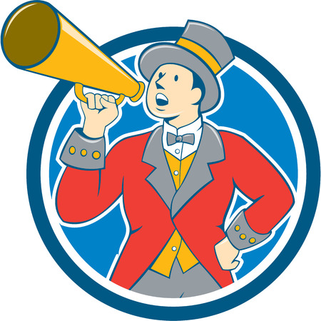 announcer: Illustration of circus ringleader ringmaster ring leader announcer wearing tall top hat  and bow tie suit speaking thru a bullhorn set inside circle on isolated background.