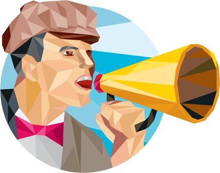 filmmaker: Low polygon style illustration of a movie director filmmaker shouting using bullhorn facing side set inside circle. Illustration