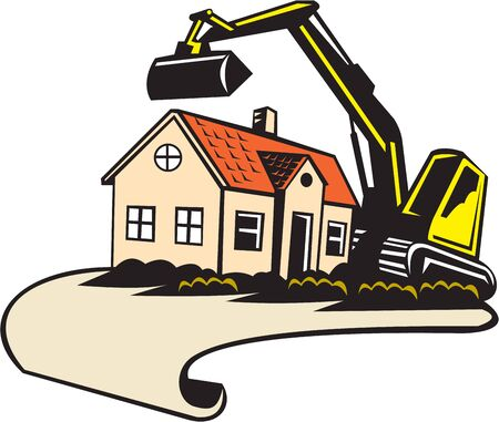 digger: Illustration of a house demolition and building removal concept showing a house with construction digger mechanical excavator in the background done in retro style.