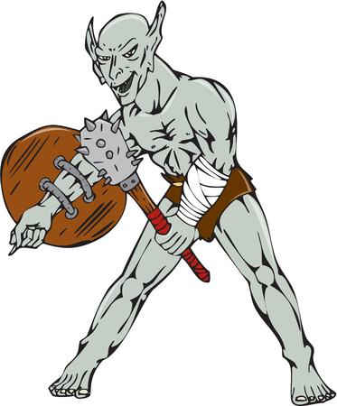 malevolent: Cartoon style illustration of an orc warrior wielding a club and shield viewed from front on isolated background.