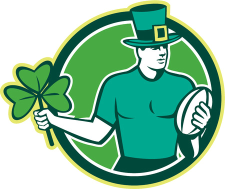 Illustration of an Irish rugby player wearing top hat running with the ball holding shamrock clover leaf set inside circle done in retro style. Vector