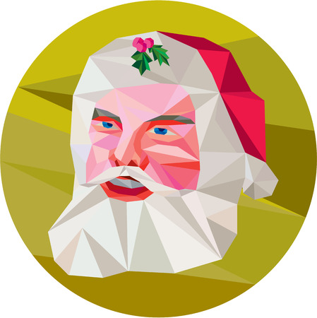kris kringle: Low polygon illustration of santa claus saint nicholas father christmas with holly in hat set inside circle on isolated background.