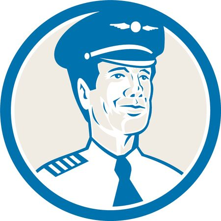 aviator: Illustration of an flight engineer, navigator , airline aircraft pilot or aeronautical aviator looking to front set inside circle on isolated background with done in retro style.