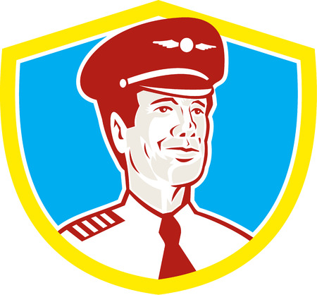aeronautical: Illustration of an American airline aircraft pilot or aeronautical aviator looking to front set inside shield done in retro style. Illustration