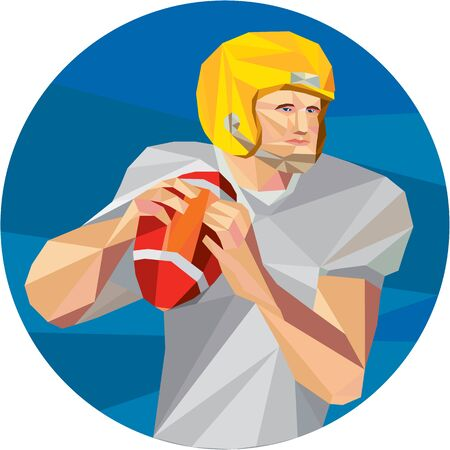quarterback: Low polygon style illustration of an american football gridiron quarterback player holding ball facing side set inside circle on isolated background. Illustration