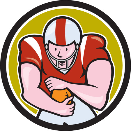 scat: Illustration of an american football gridiron player running back with ball facing front fending set inside circle on isolated background done in cartoon style. Illustration